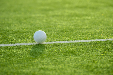 White ball for playing field hockey on the grass background