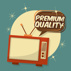 retro vintage television premium quality speech bubble vector illustration