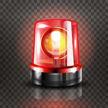 Red Flasher Siren Vector. Realistic Object. Light Effect. Beacon For Police Cars Ambulance, Fire Trucks. Emergency Flashing Siren. Transparent Background vector Illustration.