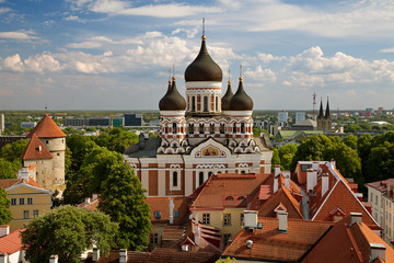 TALLINN, ESTONIA - View from the Bell tower of Dome Church / St. Mary's Cathedral, Toompea hill at The Old Town and Russian Orthodox Alexander Nevsky Cathedral