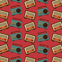 retro vintage music radio boombox stereo cassette background vector illustration