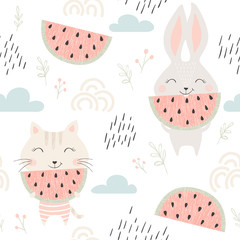 Kitty and bunny seamless pattern