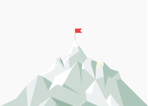 Vector flat flag on mountain. Low poly design. Success illustration. Goal achievement. Business concept. Winning of competition or triumph.