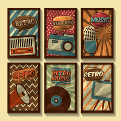 set of retro vintage devices classic design vector illustration