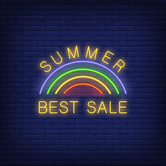 Summer Best Sale neon sign. Vector illustration with glowing yellow text and rainbow on dark brick wall. Template for night bright banners, billboards, signboards