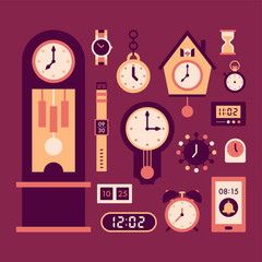 various kind of clock icon vector flat graphic design illustration set
