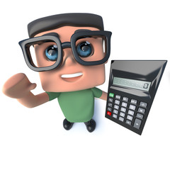 3d Funny cartoon nerd geek character holding a calculator