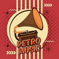 gramophone music device vinyl lp retro vintage vector illustration