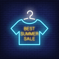 Best summer sale neon text with t-shirt on hanger. Offer or sale advertisement design. Night bright neon sign, colorful billboard, light banner. Vector illustration in neon style.