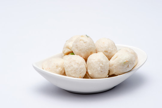Meat ball fish on white background