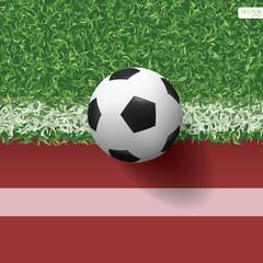 Soccer football ball on green grass of soccer field with running track for sports background. Vector illustration.