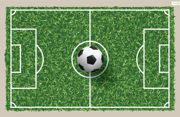 Soccer football ball on green grass of soccer field pattern and texture for background. Vector illustration.