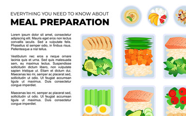 Vector template for magazine article about meal preparation. Portion of food in container and bowl with snacks. Healthy lifestyle food. Meat rice and salad. Meal prep illustration for blog.