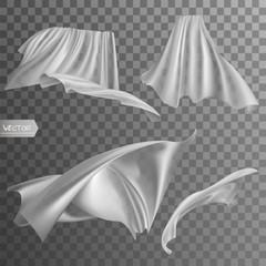 Set of realistic fluttering white cloths, soft lightweight clear material isolated on transparent background vector illustration.