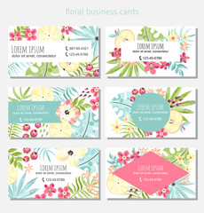 Six flowers and fruits business cards