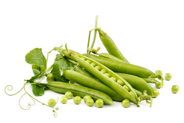 Fruits of green peas on white background.