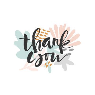 Thank you - handdrawn calligraphic lettering