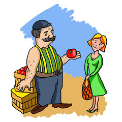 Seller sells vegetables at the market woman. Illustration