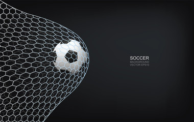 Soccer football ball and soccer net on black background with area for graphic design and text. Vector.