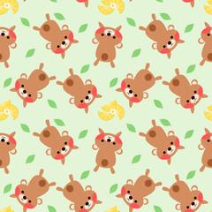 Cute bear and fresh lemon seamless pattern vector.