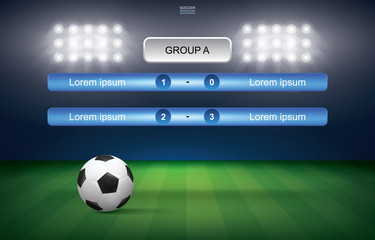 Match schedule of soccer football cup with soccer ball stadium background. Soccer football tournament schedule. Vector.