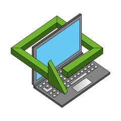 laptop computer technology 360 degree arrow vector illustration isometric
