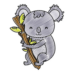 doodle cute koala wild animal in the branch leaves