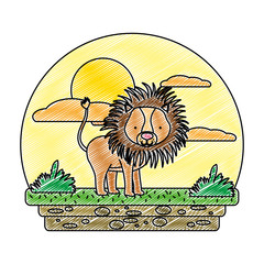 doodle cute male lion wild animal in the landscape