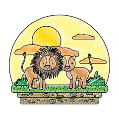doodle cute couple lion wild animal in the landscape