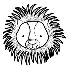 grunge cute male lion head wild animal
