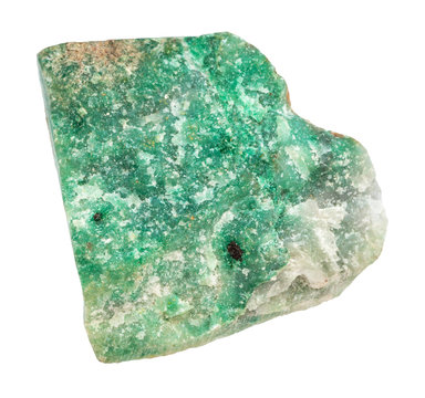 raw green Aventurine stone isolated
