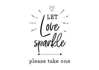 Wall Mural - let love sparkle wedding typography