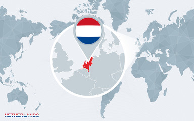 Fototapeta World map centered on America with magnified Netherlands.