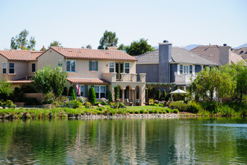 Beautiful House at Lake in sunny day