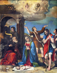 Fototapete - PARMA, ITALY - APRIL 16, 2018: The renaisance painting of Nativity in Duomo by Giacomo and Giulio Francia (1519).