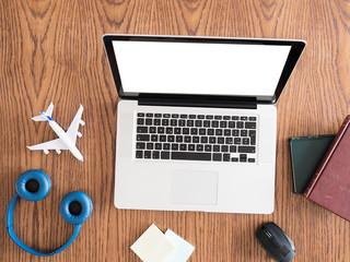 business traveler  image concept .. flat light on wood desk