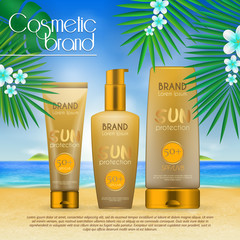 Summer sunblock cosmetic design template on beach background with exotic palm leaves. 3D realistic sun protection and sunscreen product ads.