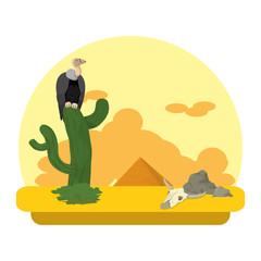 vulture in the cactus desert and animal skull