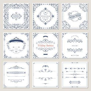 Ornate frames design and scroll elements set. Flourish cards and labels templates. Vector illustration.