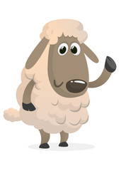 Funny cartoon sheep icon. Vector illustration of a fluffy sheep character mascot waving hand. Great for print, sticker or book illustration