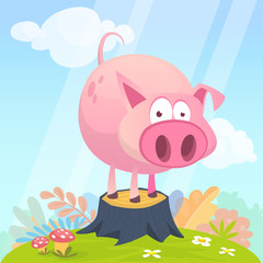 Vector illustration of cute pig cartoon isolated on simple background with grass on the meadow. Design forstickers, print or children book