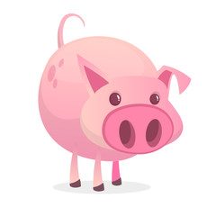 Cute, fun and funny cartoon pig or barnyard animal.