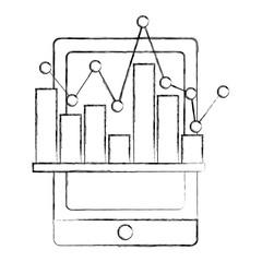 smartphone statistic financial bar graph vector illustration sketch