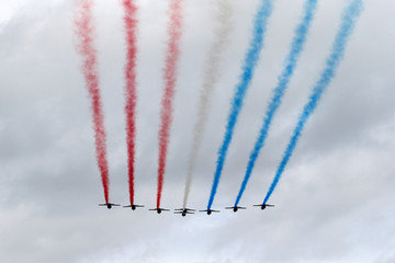 Alpha jets from the French Air Force Patrouille de France fly over the 721 Rochefort air base in Saint-Agnant