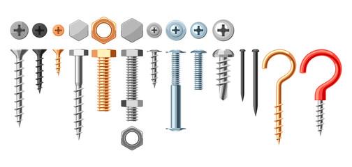 Set of bolts nuts nails.