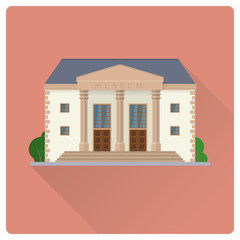 Museum building flat design vector illustration