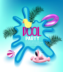 Pool party poster with inflatable toys, palm tree branches and puddle. Vector illustration