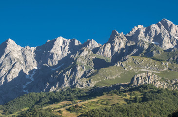 Spain, Asturias, National park de los Picos de Europa, Poncebos, Liebana valley, Way of St James, panoramic view on the mountains near Potes