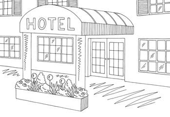 Hotel exterior graphic black white sketch illustration vector