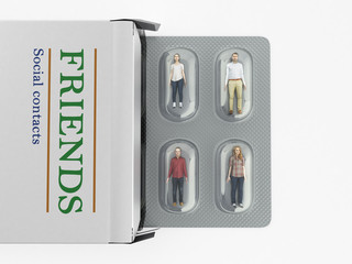 the concept of social problems 3d genereted people instead of pills in the package 3d render on white